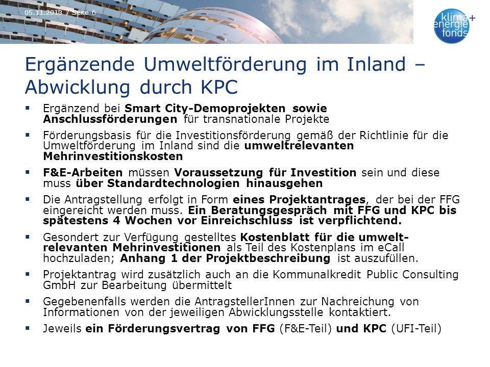 Ergänzende Umweltförderung im Inland – Abwicklung durch KPC