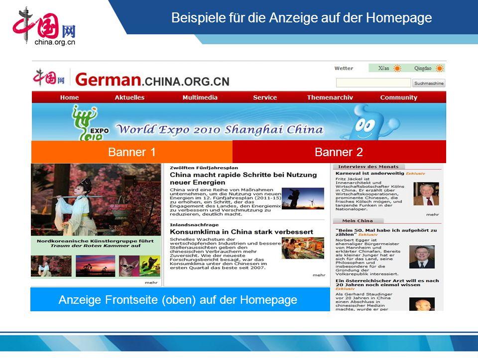 Beispiele für die Anzeige auf der Homepage