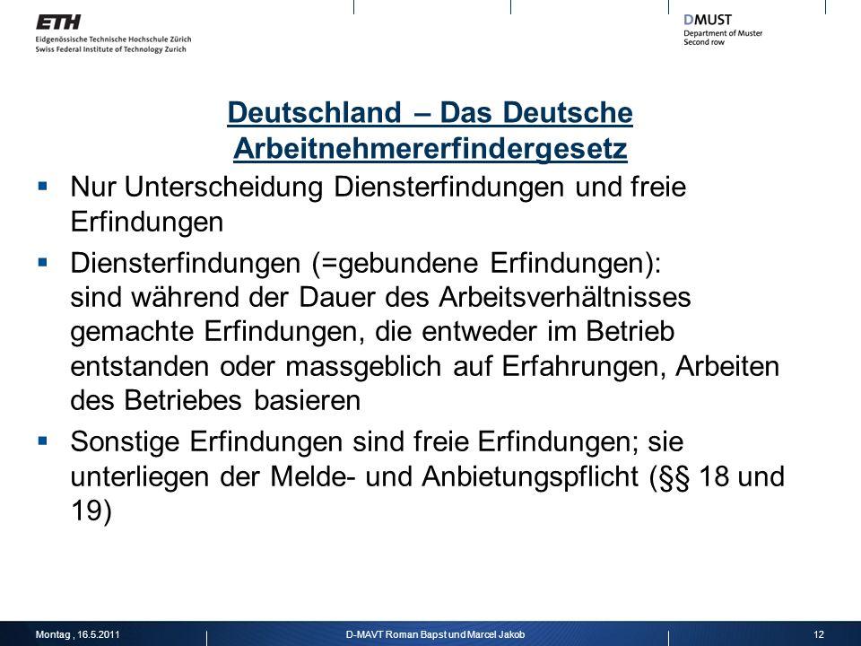 Deutschland – Das Deutsche Arbeitnehmererfindergesetz
