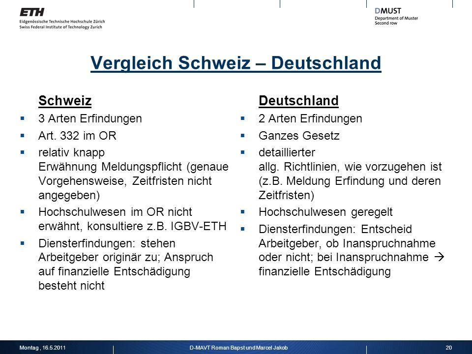 Vergleich Schweiz – Deutschland