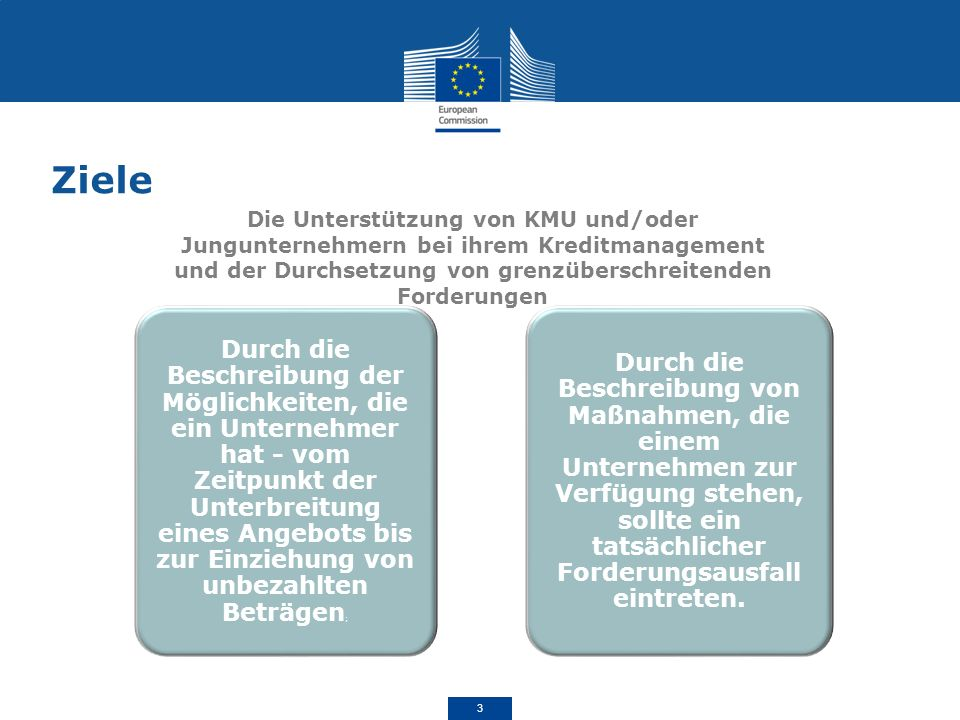 Ziele Die Unterstützung von KMU und/oder Jungunternehmern bei ihrem Kreditmanagement und der Durchsetzung von grenzüberschreitenden Forderungen.