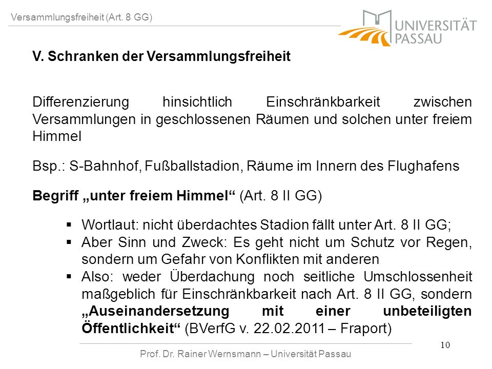 Prof. Dr. Rainer Wernsmann – Universität Passau