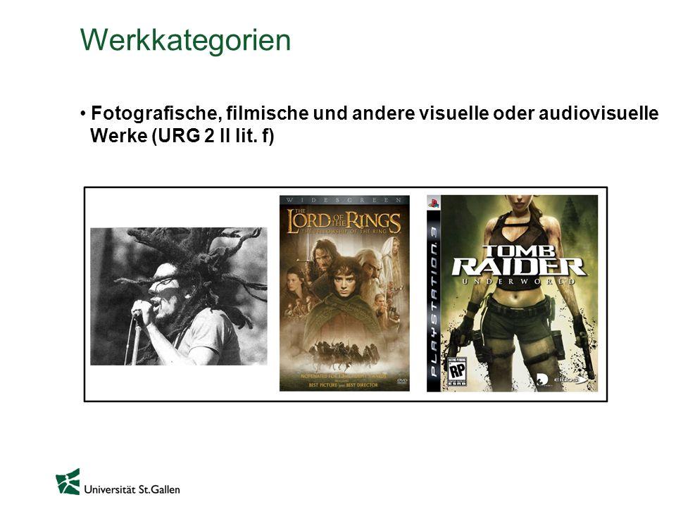 Werkkategorien Fotografische, filmische und andere visuelle oder audiovisuelle Werke (URG 2 II lit.