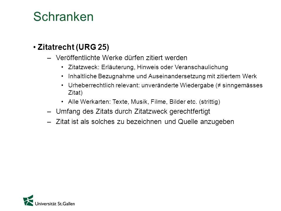 Schranken Zitatrecht (URG 25)