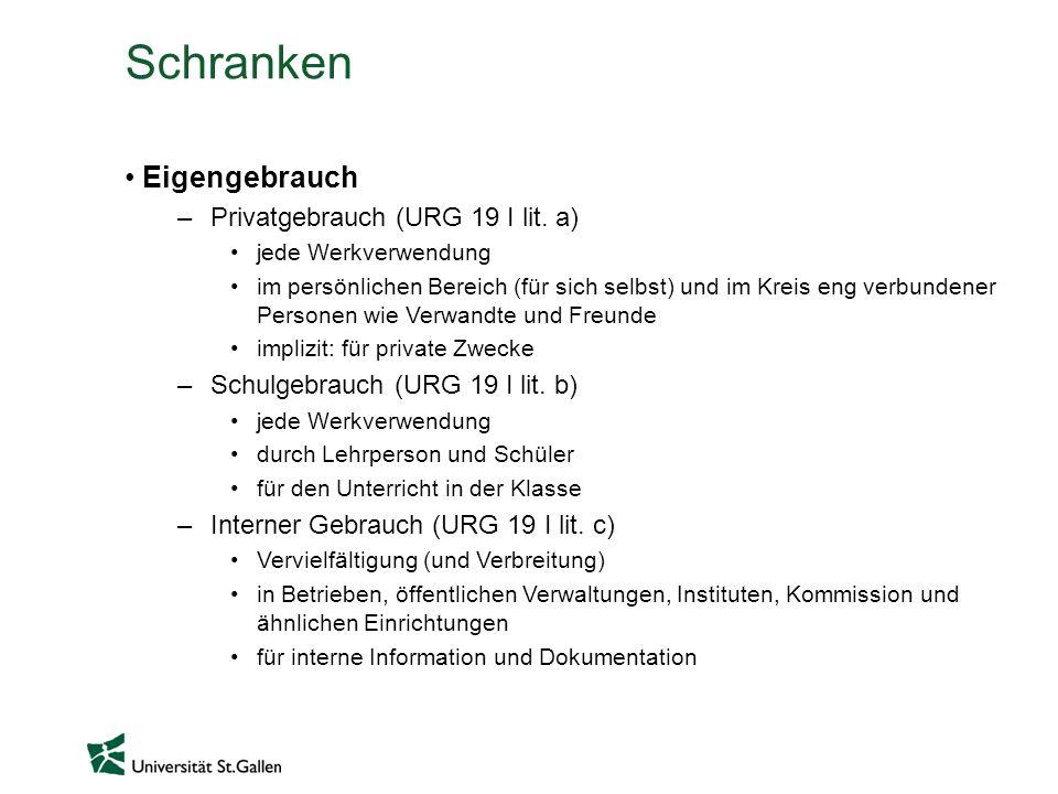 Schranken Eigengebrauch Privatgebrauch (URG 19 I lit. a)