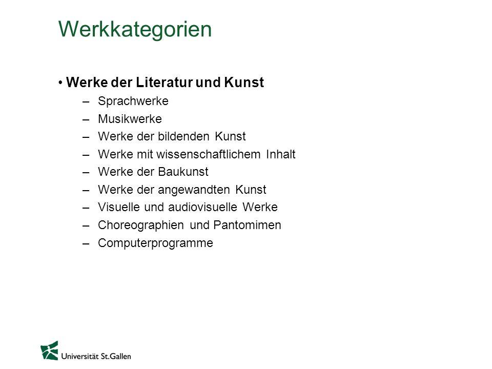 Werkkategorien Werke der Literatur und Kunst Sprachwerke Musikwerke