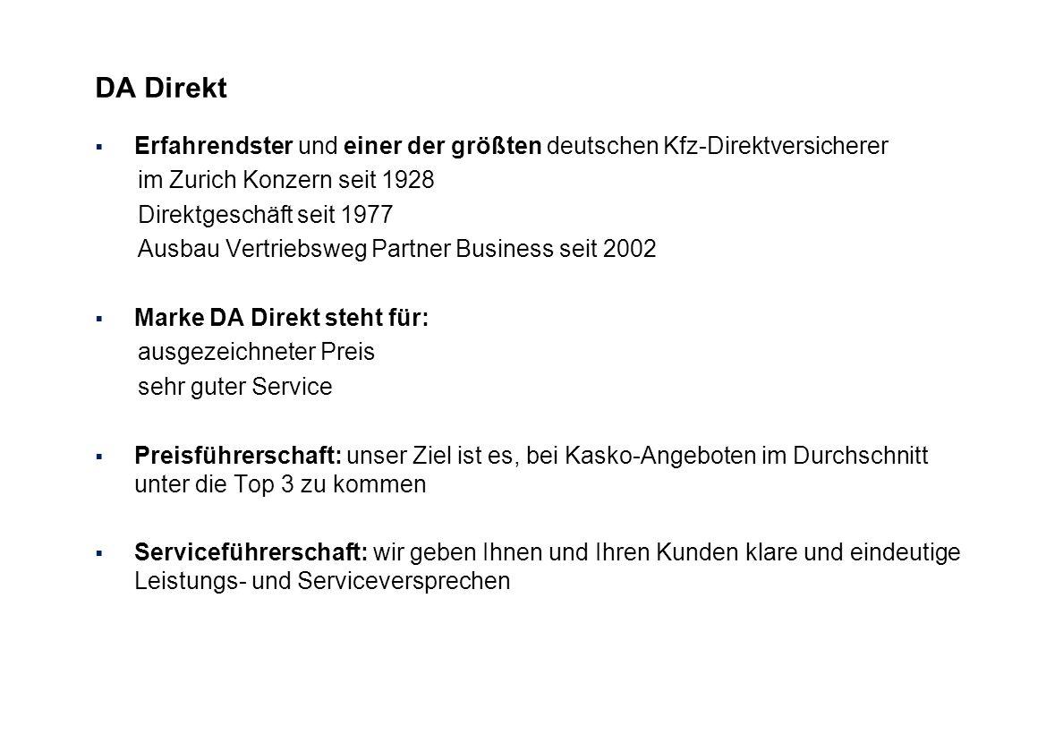 DA Direkt Erfahrendster und einer der größten deutschen Kfz-Direktversicherer. im Zurich Konzern seit 1928.