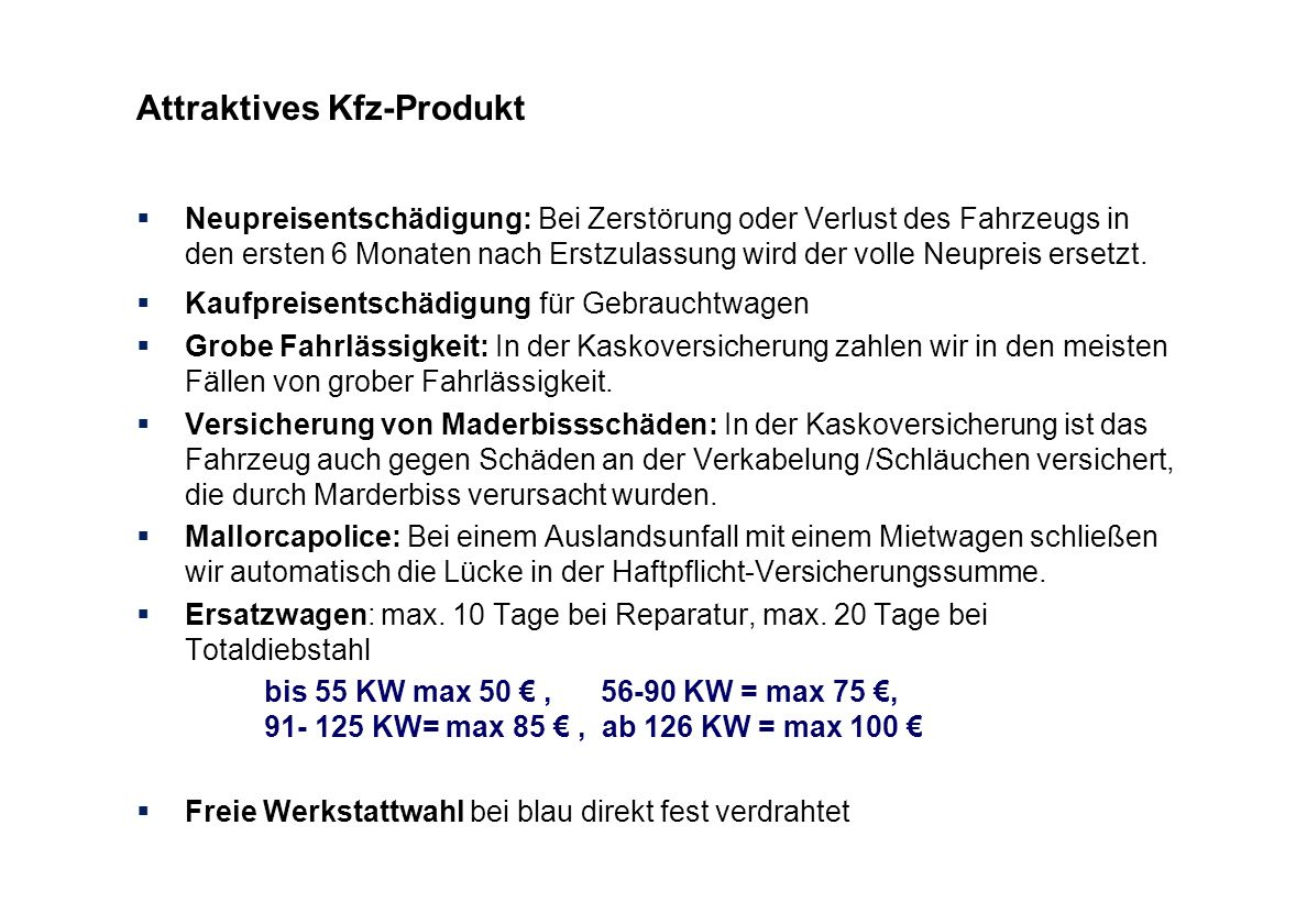 Attraktives Kfz-Produkt