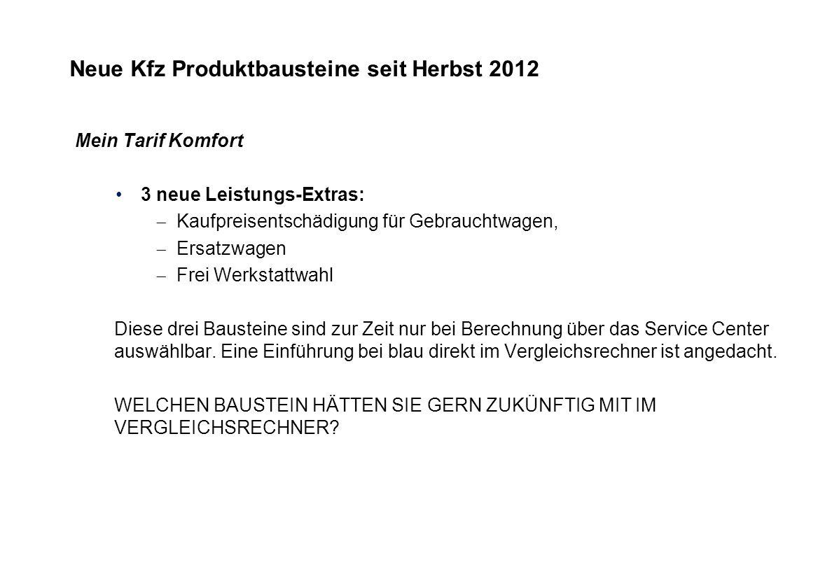 Neue Kfz Produktbausteine seit Herbst 2012