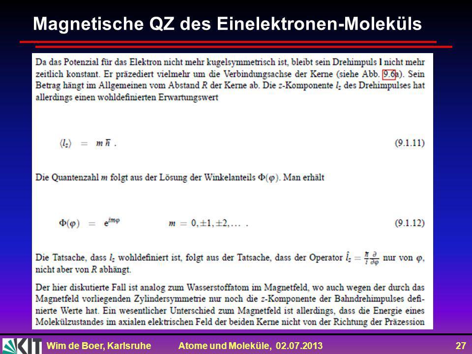 Magnetische QZ des Einelektronen-Moleküls