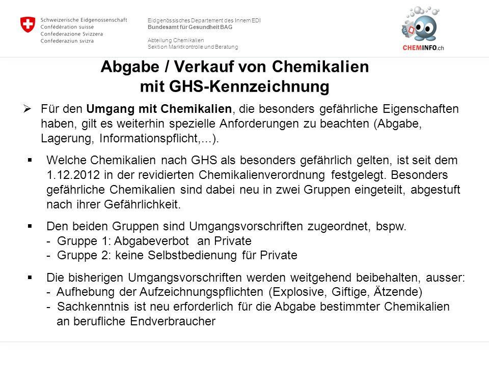 Abgabe / Verkauf von Chemikalien mit GHS-Kennzeichnung