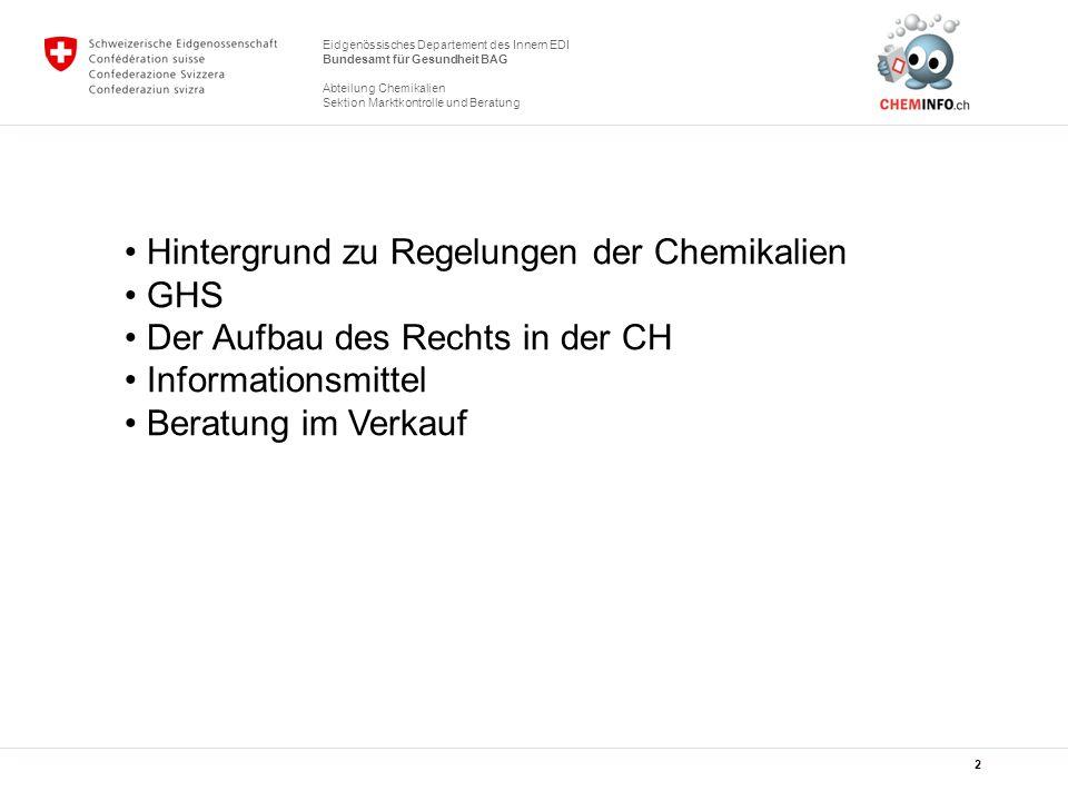 Hintergrund zu Regelungen der Chemikalien