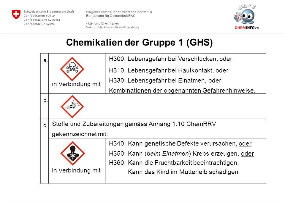 Chemikalien der Gruppe 1 (GHS)