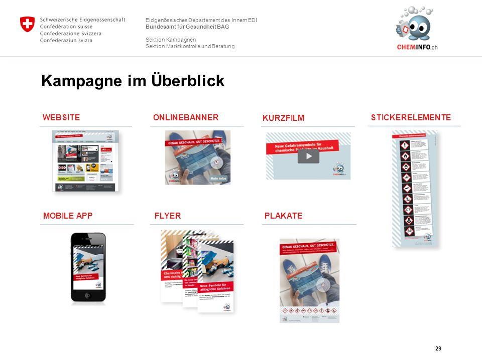 Kampagne im Überblick WEBSITE ONLINEBANNER KURZFILM STICKERELEMENTE