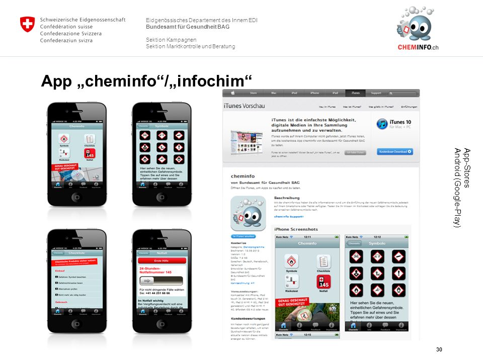 "App ""cheminfo /""infochim"
