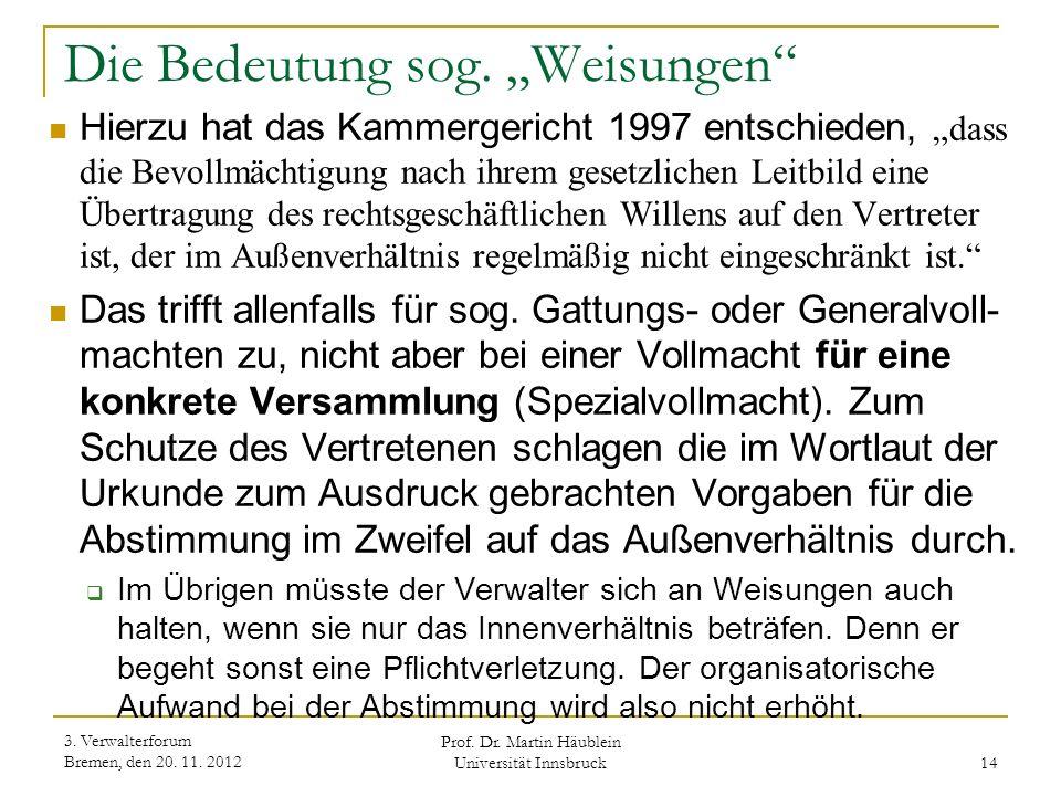"""Die Bedeutung sog. """"Weisungen"""