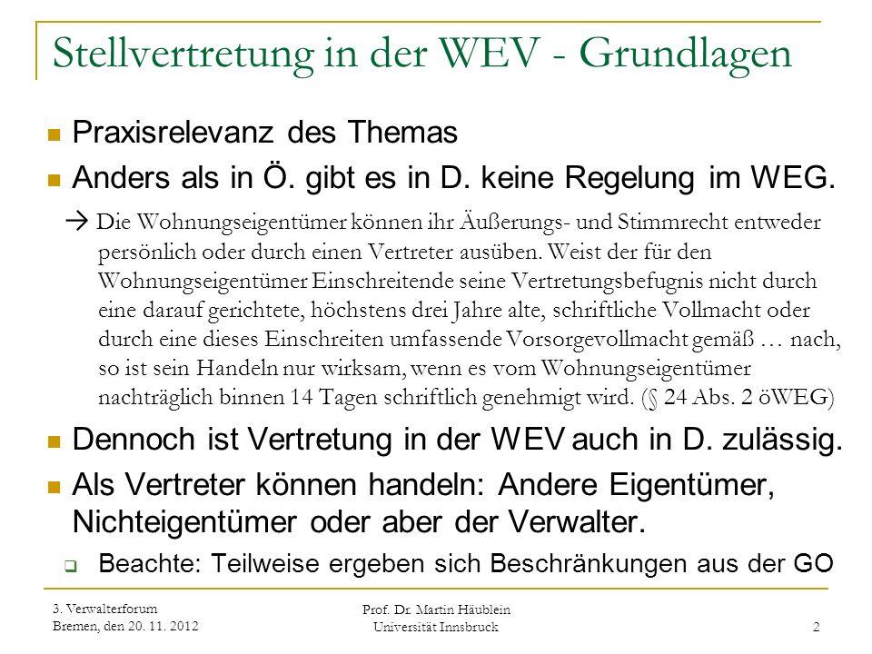 Stellvertretung in der WEV - Grundlagen