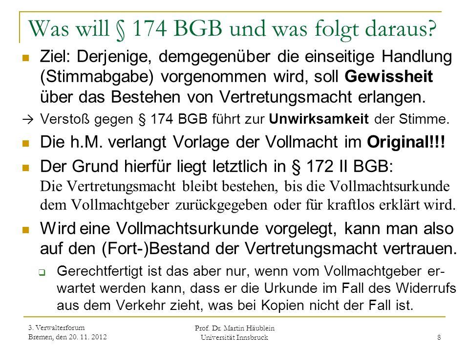 Was will § 174 BGB und was folgt daraus