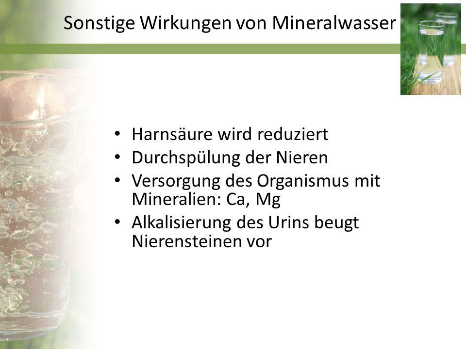Sonstige Wirkungen von Mineralwasser