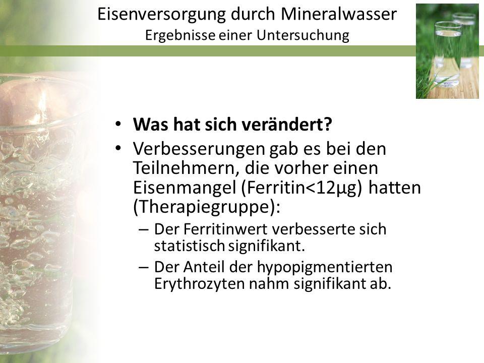 Eisenversorgung durch Mineralwasser Ergebnisse einer Untersuchung