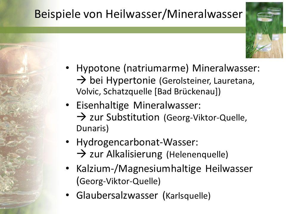Beispiele von Heilwasser/Mineralwasser