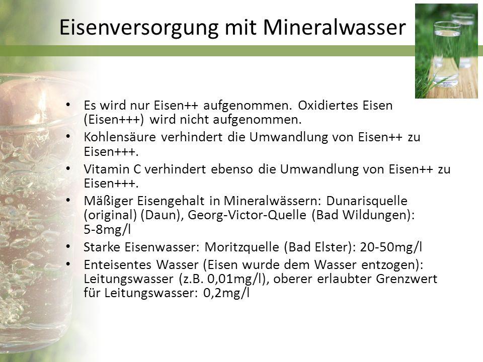 Eisenversorgung mit Mineralwasser
