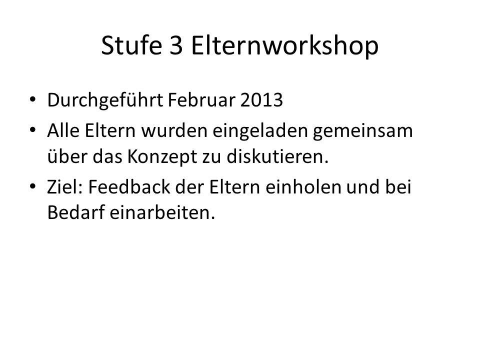 Stufe 3 Elternworkshop Durchgeführt Februar 2013