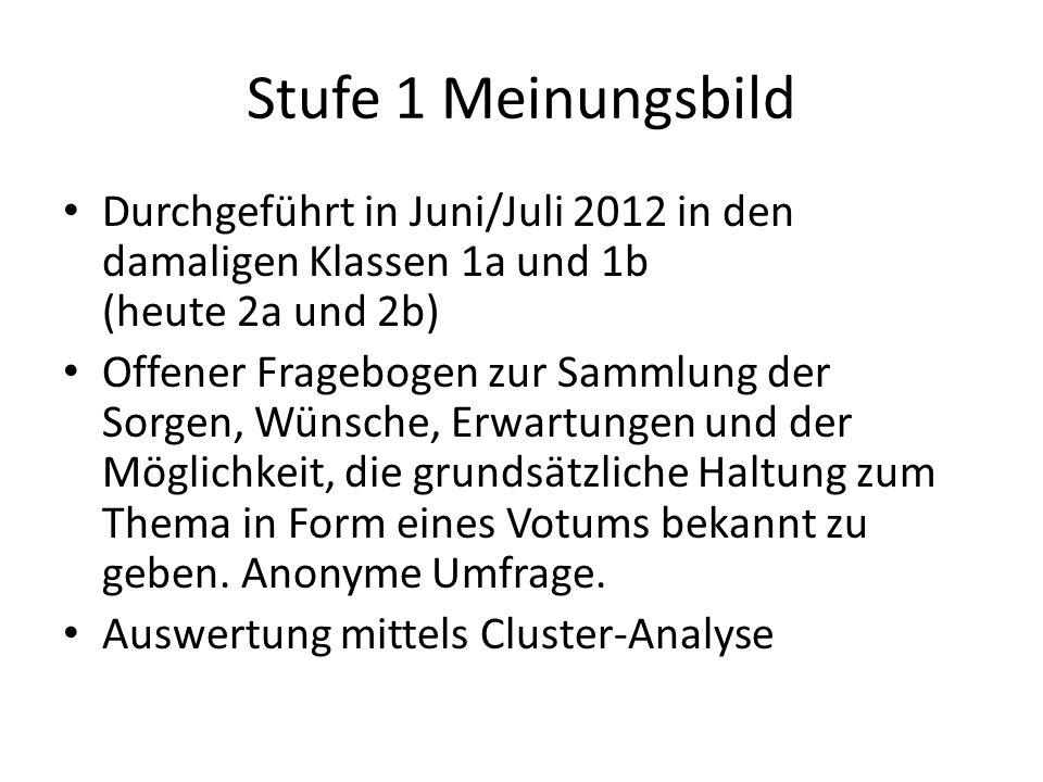 Stufe 1 MeinungsbildDurchgeführt in Juni/Juli 2012 in den damaligen Klassen 1a und 1b (heute 2a und 2b)