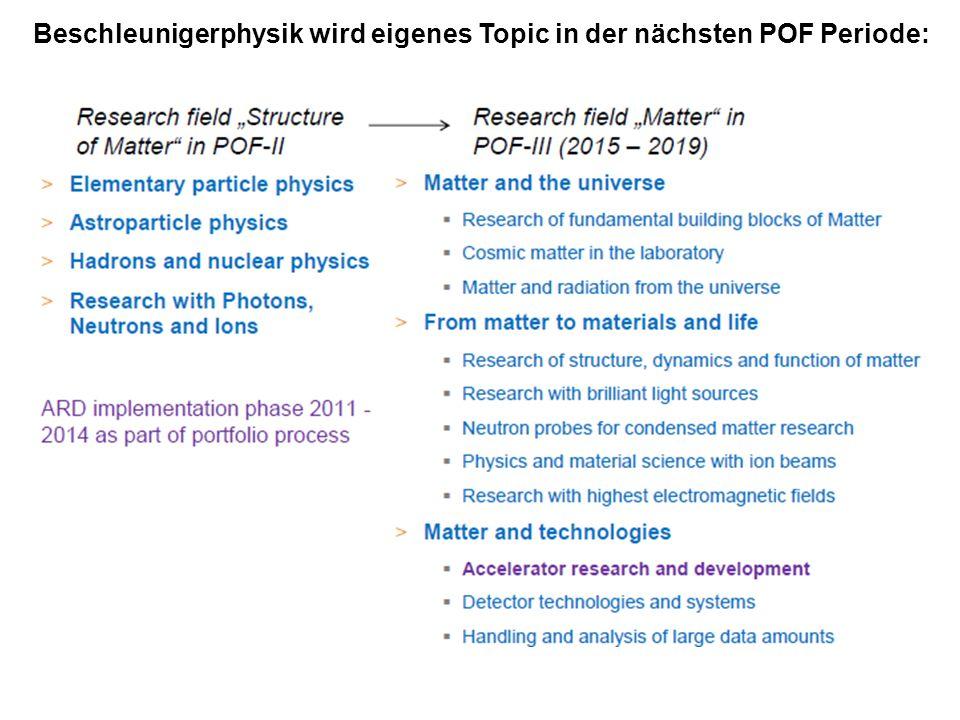 Beschleunigerphysik wird eigenes Topic in der nächsten POF Periode: