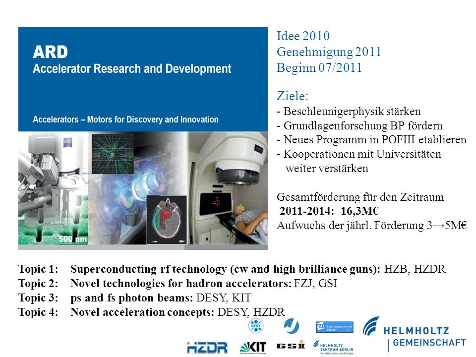 Idee 2010 Genehmigung 2011 Beginn 07/2011 Ziele: