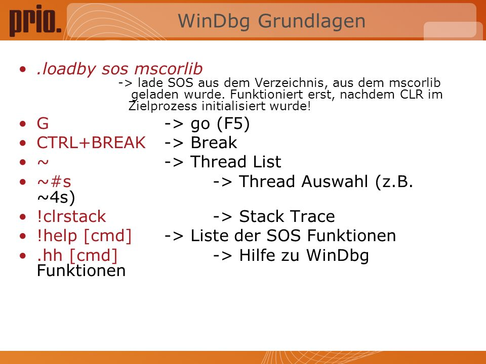 WinDbg Grundlagen