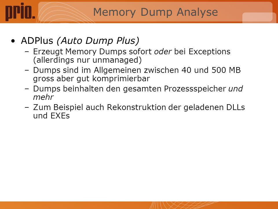 Memory Dump Analyse ADPlus (Auto Dump Plus)