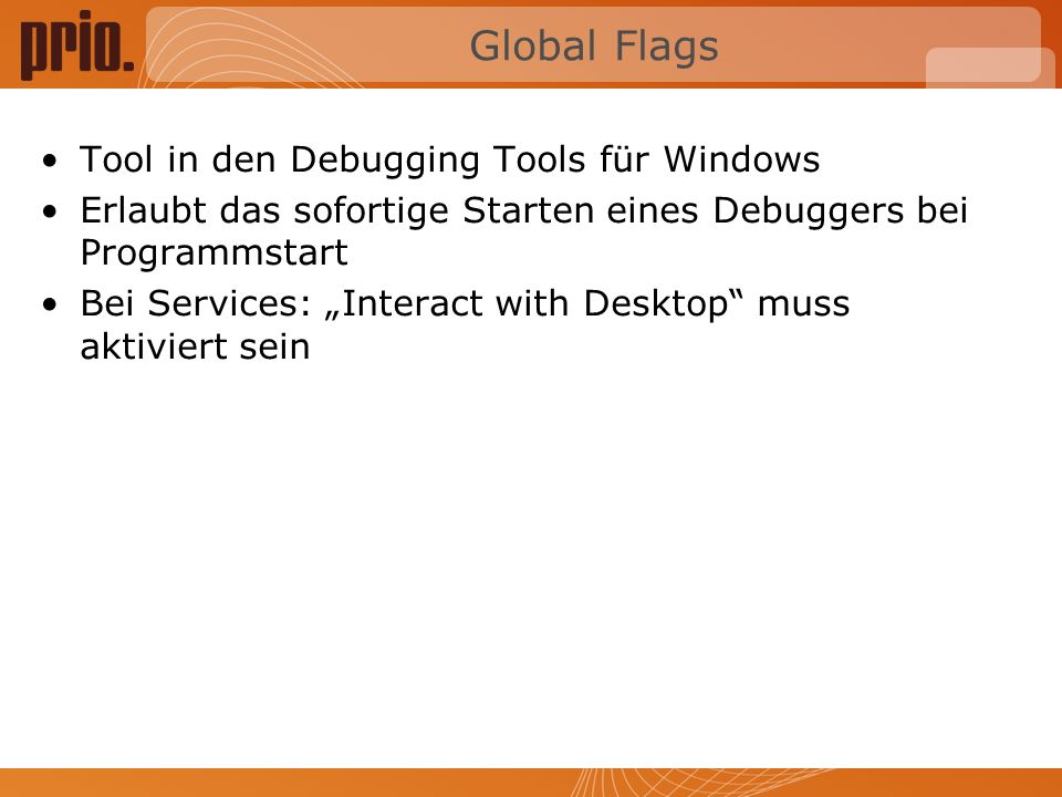 Global Flags Tool in den Debugging Tools für Windows