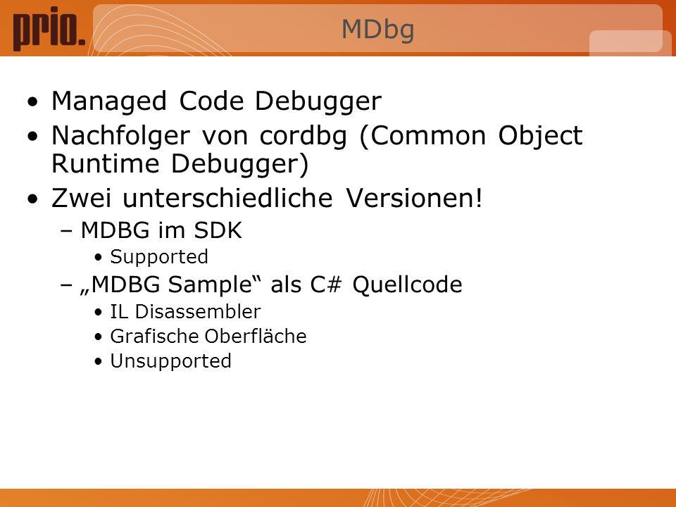 Nachfolger von cordbg (Common Object Runtime Debugger)