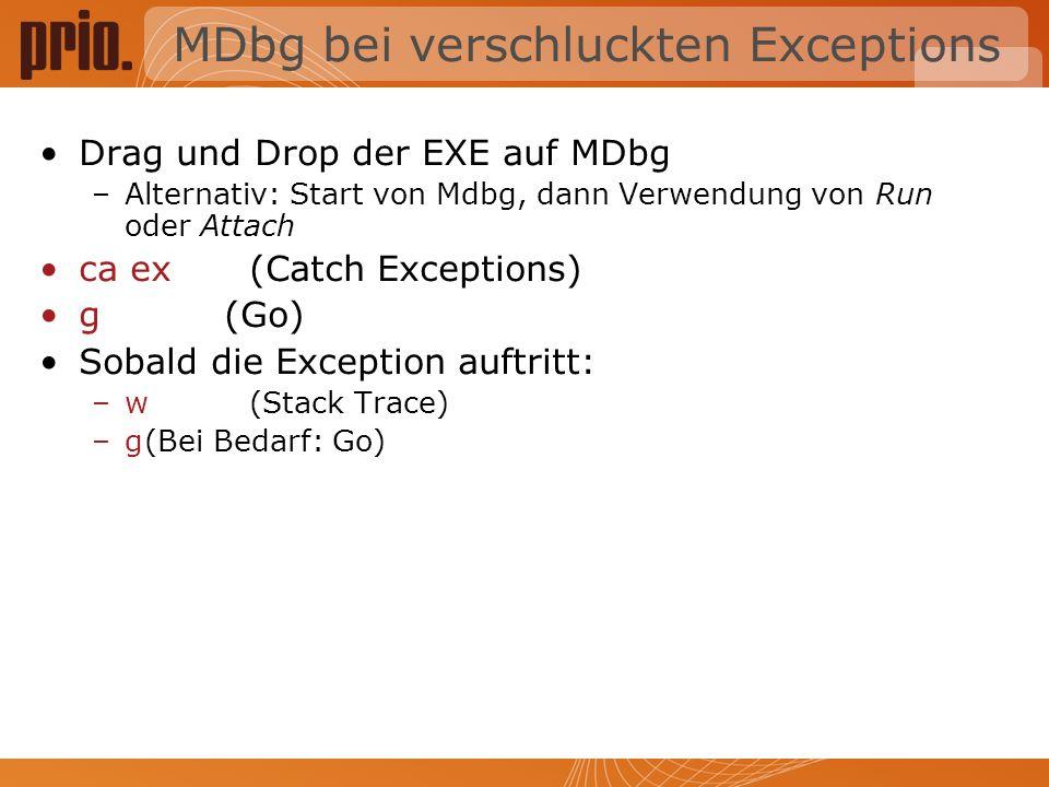 MDbg bei verschluckten Exceptions