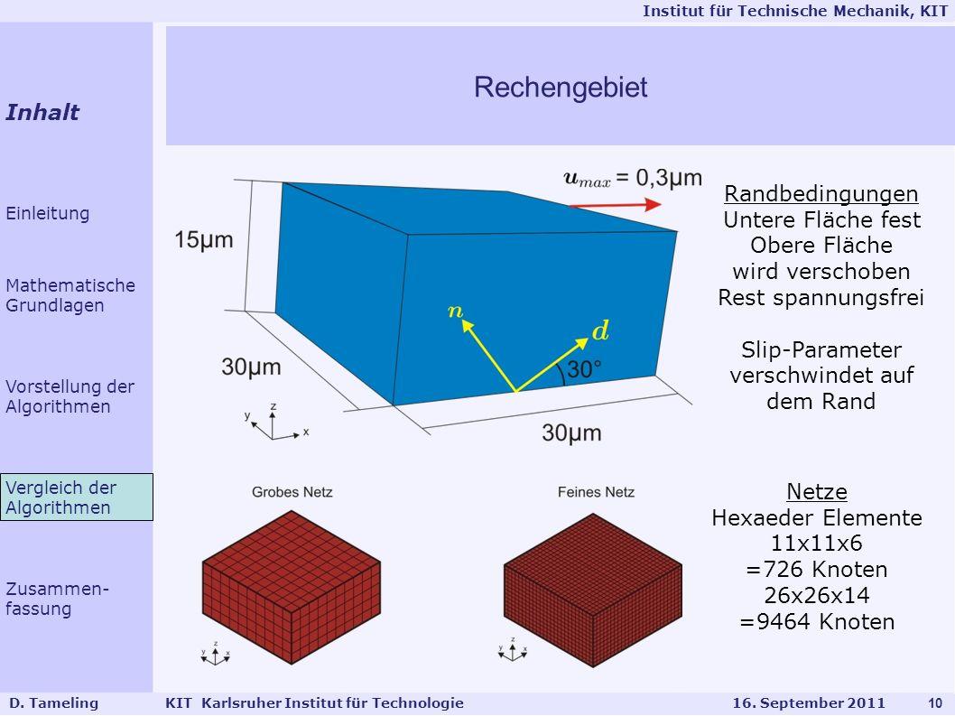 Rechengebiet Inhalt Randbedingungen Untere Fläche fest Obere Fläche