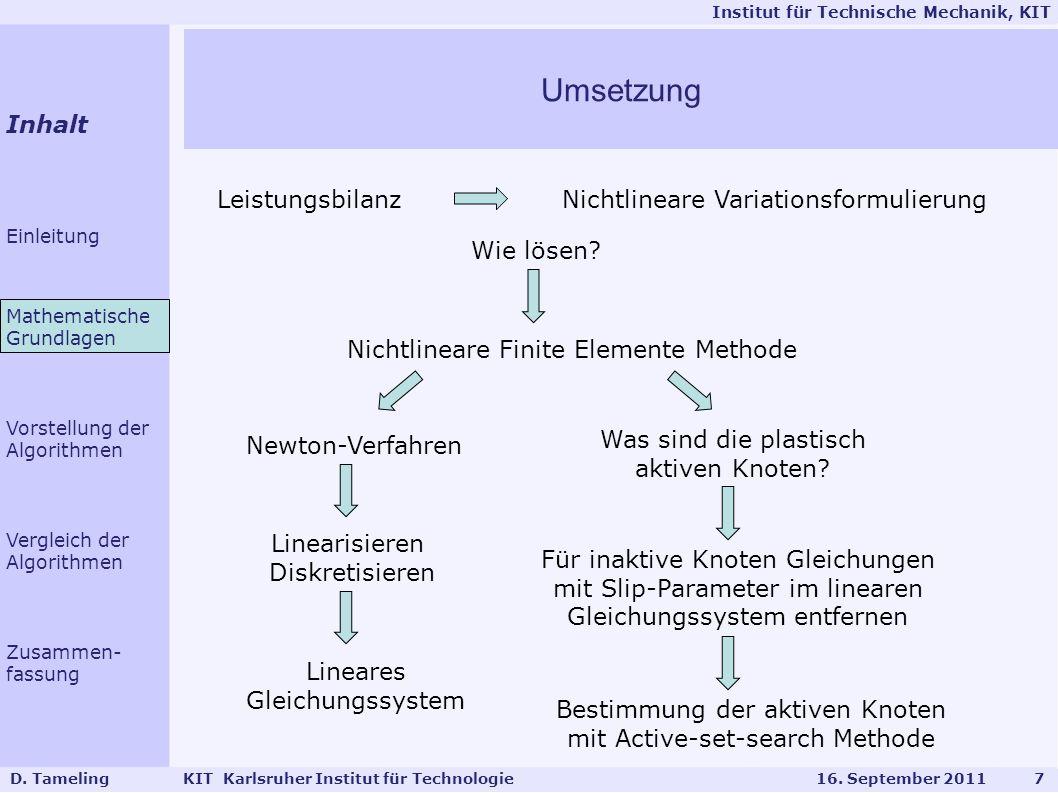 Umsetzung Inhalt Leistungsbilanz Nichtlineare Variationsformulierung