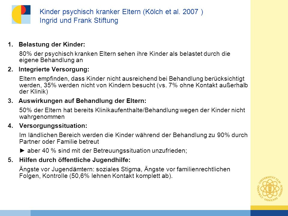Kinder psychisch kranker Eltern (Kölch et al