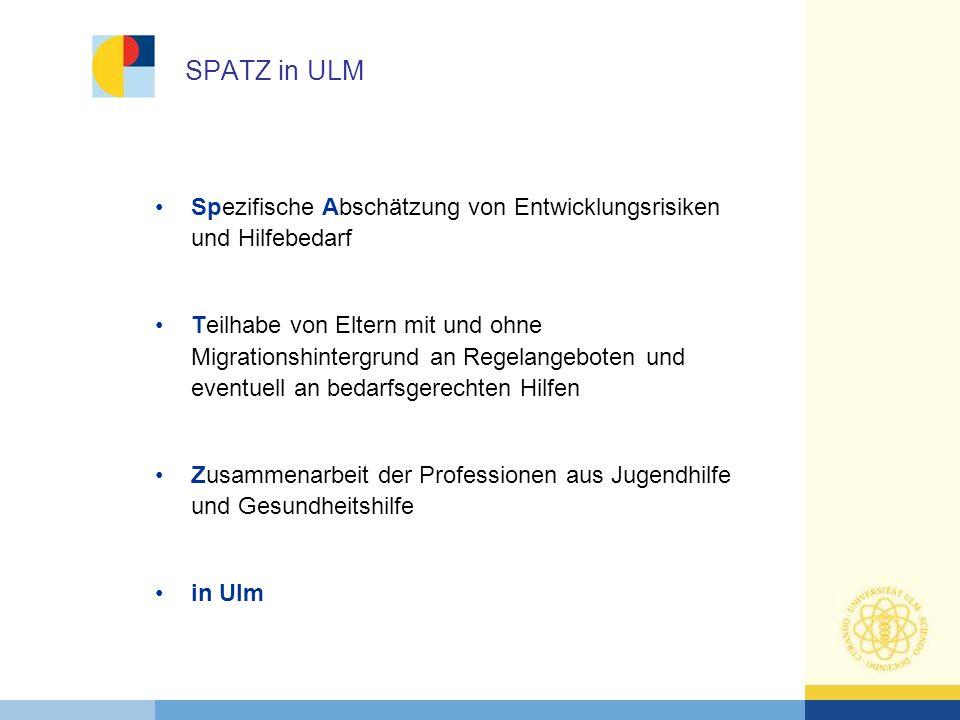 SPATZ in ULM Spezifische Abschätzung von Entwicklungsrisiken und Hilfebedarf.
