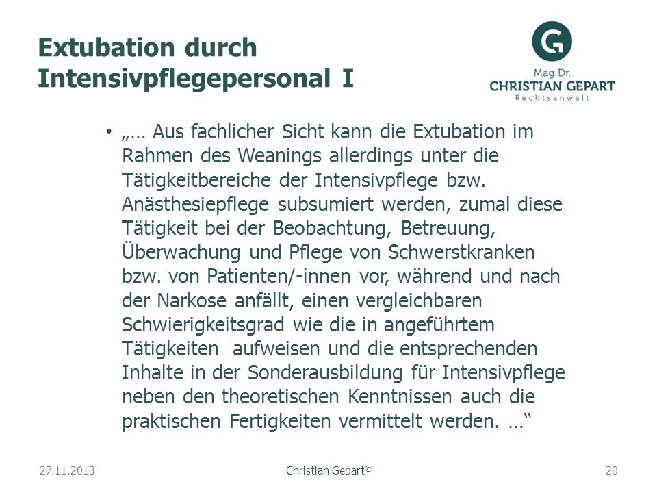 Extubation durch Intensivpflegepersonal I
