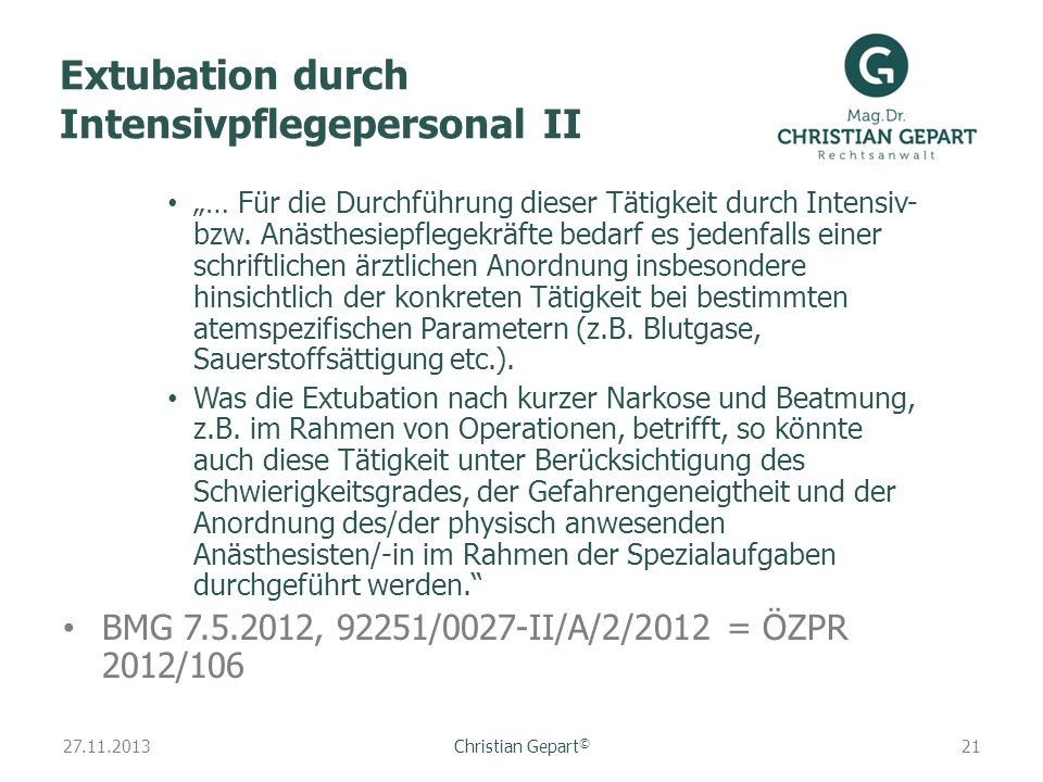 Extubation durch Intensivpflegepersonal II