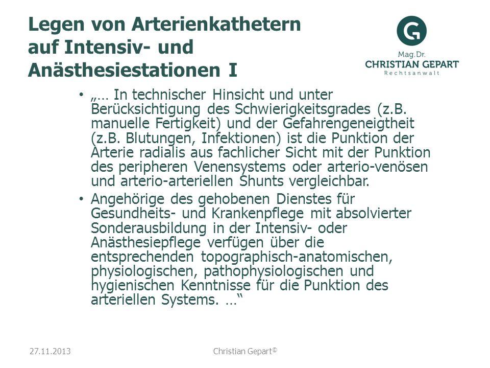 Legen von Arterienkathetern auf Intensiv- und Anästhesiestationen I