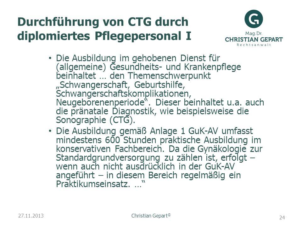 Durchführung von CTG durch diplomiertes Pflegepersonal I
