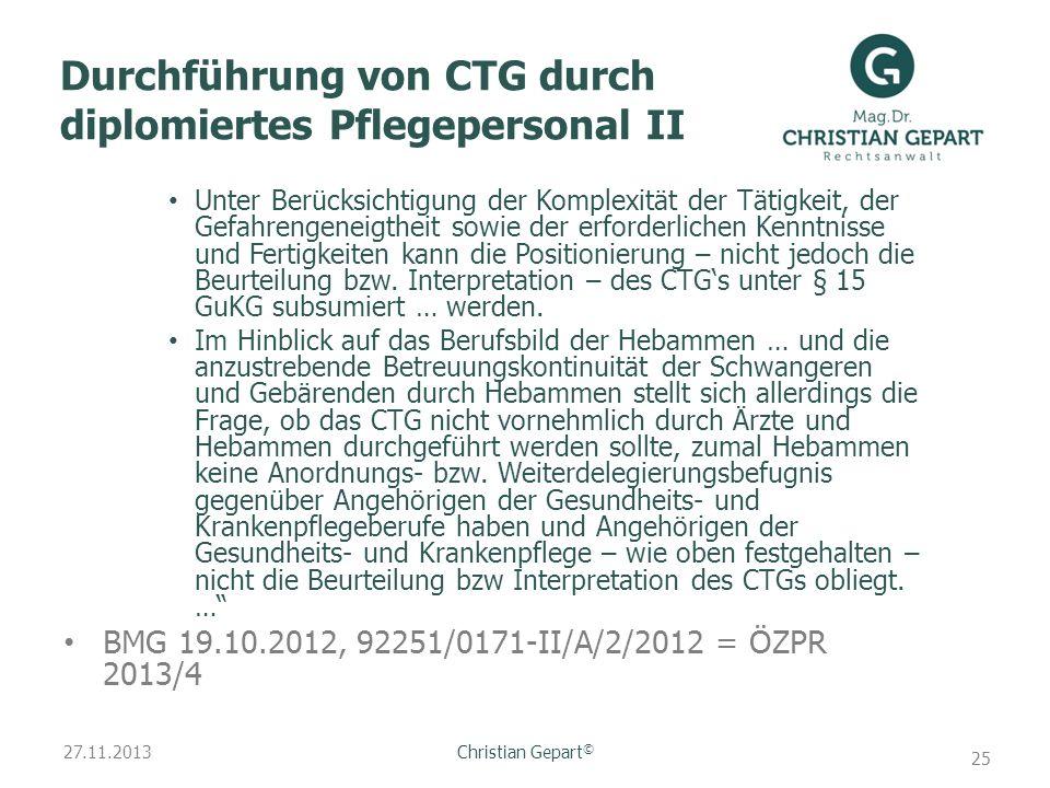 Durchführung von CTG durch diplomiertes Pflegepersonal II