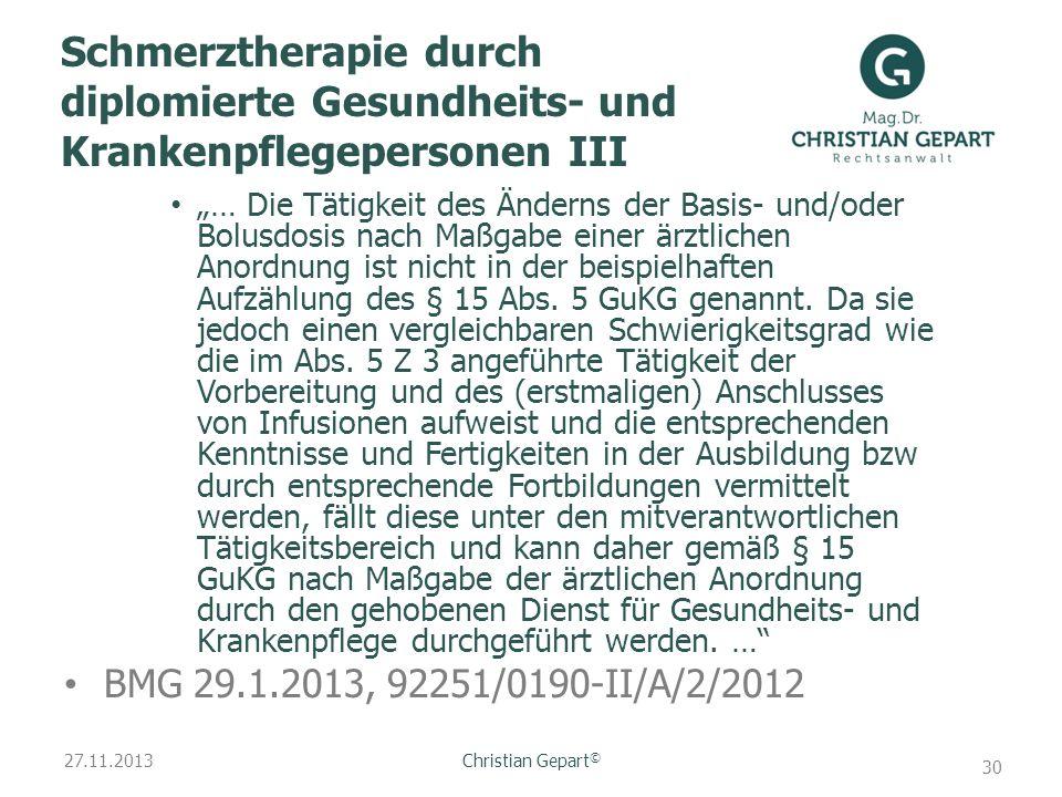 Schmerztherapie durch diplomierte Gesundheits- und Krankenpflegepersonen III