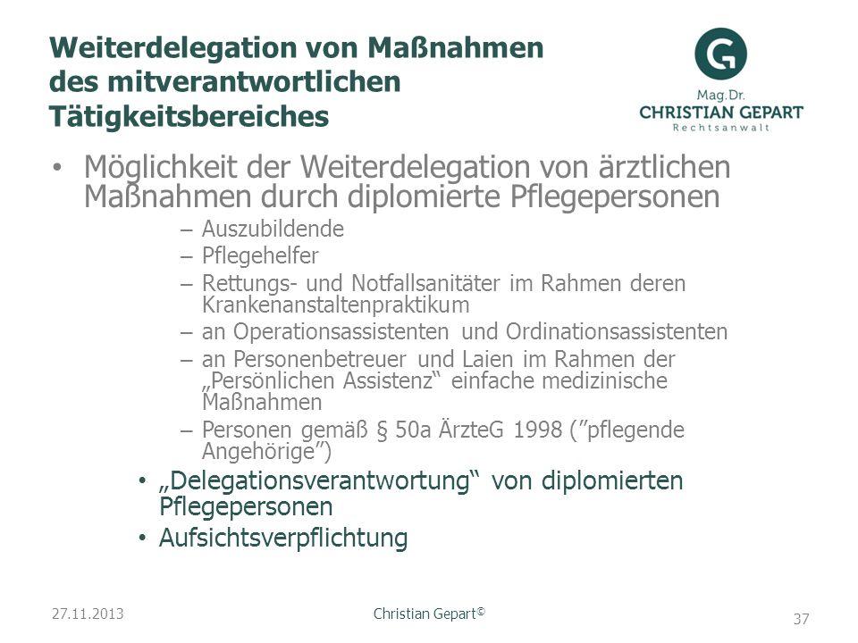 Weiterdelegation von Maßnahmen des mitverantwortlichen Tätigkeitsbereiches