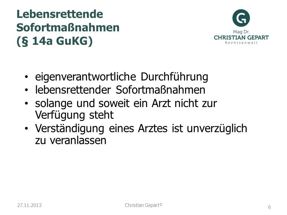 Lebensrettende Sofortmaßnahmen (§ 14a GuKG)
