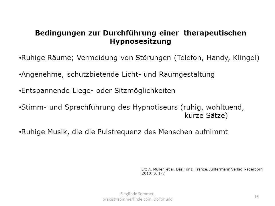 Bedingungen zur Durchführung einer therapeutischen Hypnosesitzung