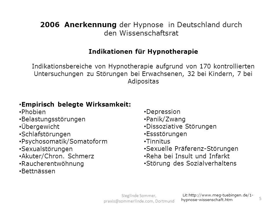 2006 Anerkennung der Hypnose in Deutschland durch den Wissenschaftsrat