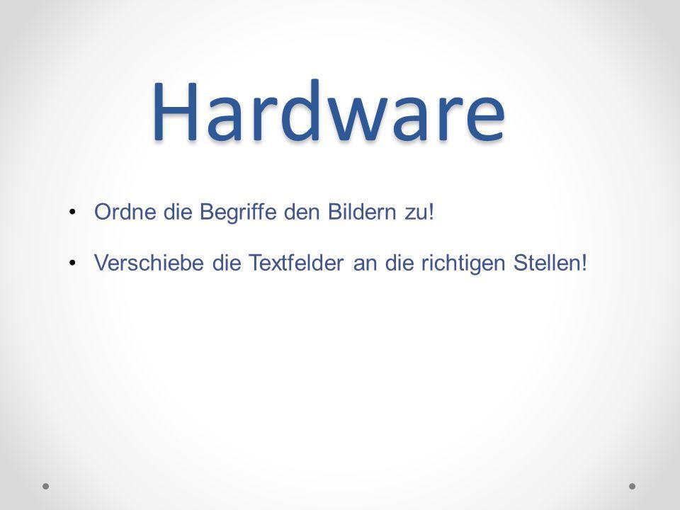Hardware Ordne die Begriffe den Bildern zu!